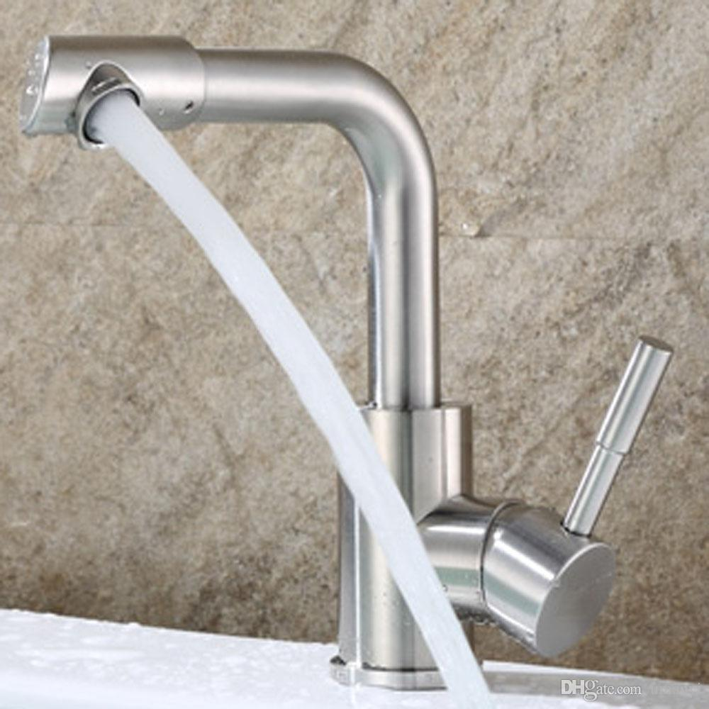online cheap 360 rotatable spout 304 stainless steel bathroom sink faucets nickel brushed single handle hot cold mixer deck mounted basin taps ssmp024 by - Stainless Steel Bathroom Sinks