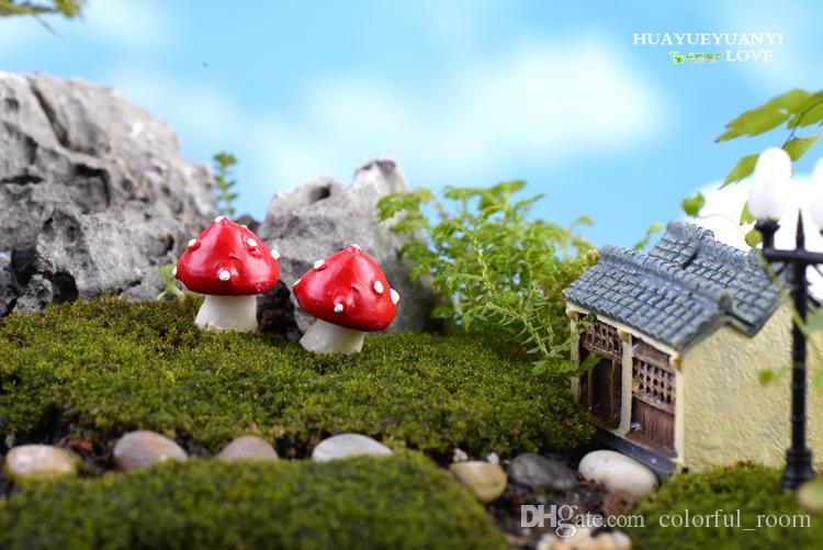 New designs red dot mushroom fairy garden miniatures gnomes terrarium decor resin crafts bonsai for home decor accessories