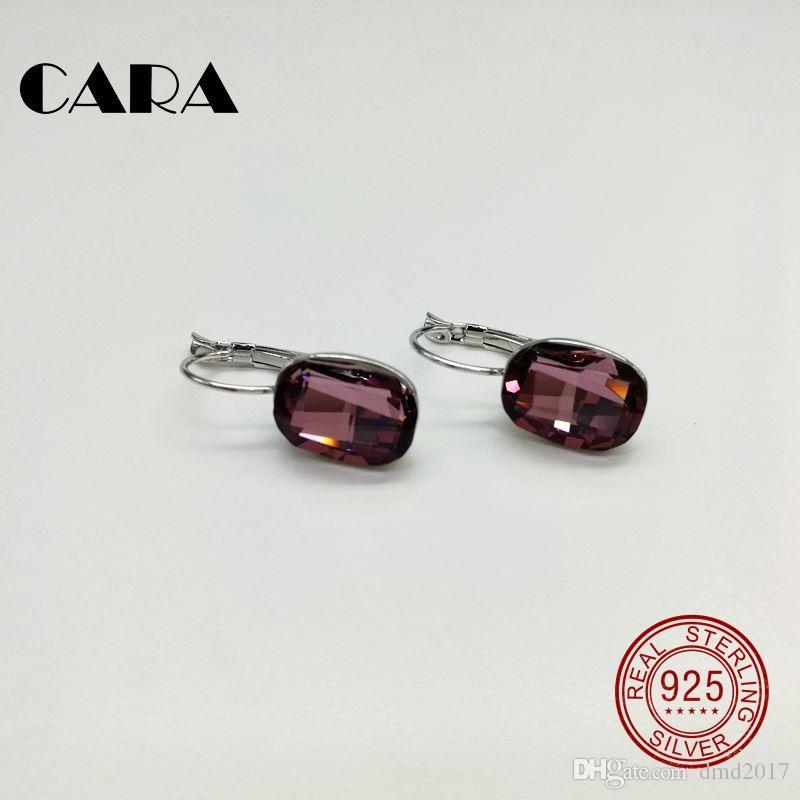 New luxury square for SWAROVSKI stone Ladies earrings 925 sterling silver hoop earrings for women jewelry Wedding earrings CARA0106