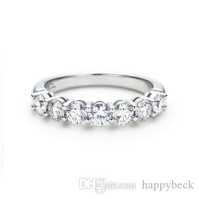 Female Band Ring 0.7CT paved Round Cut Synthetic Diamond Wedding Ring Solid 925 Sterling Silver Annivesary Gift Brilliant Forever Jewelry