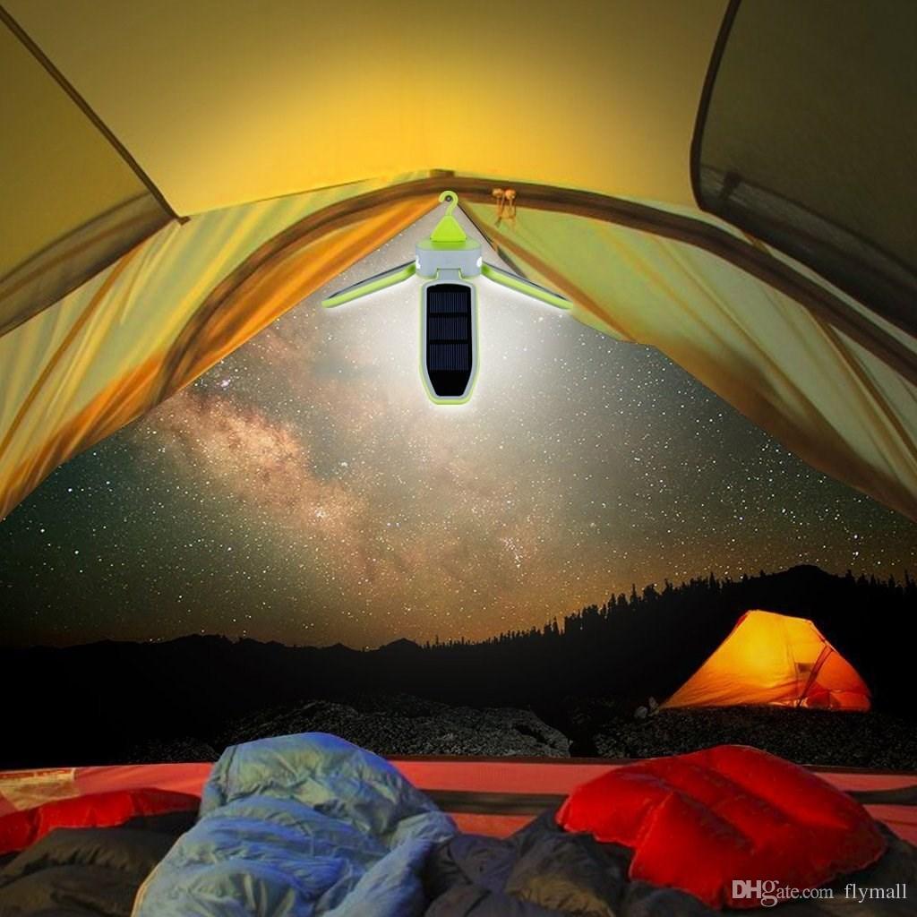 Stile pieghevole Clover 18 LED Tenda da campeggio Lanterna Illuminazione Luci Torcia Batteria ricaricabile alimentata da ricarica USB e pannello solare
