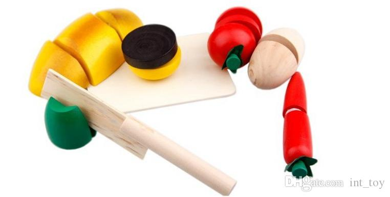 With Box CLASSIC Children Wooden Kitchen Toy Fruits and Vegetable Cutting Game Baby Educational Intelligence toys Free Ship