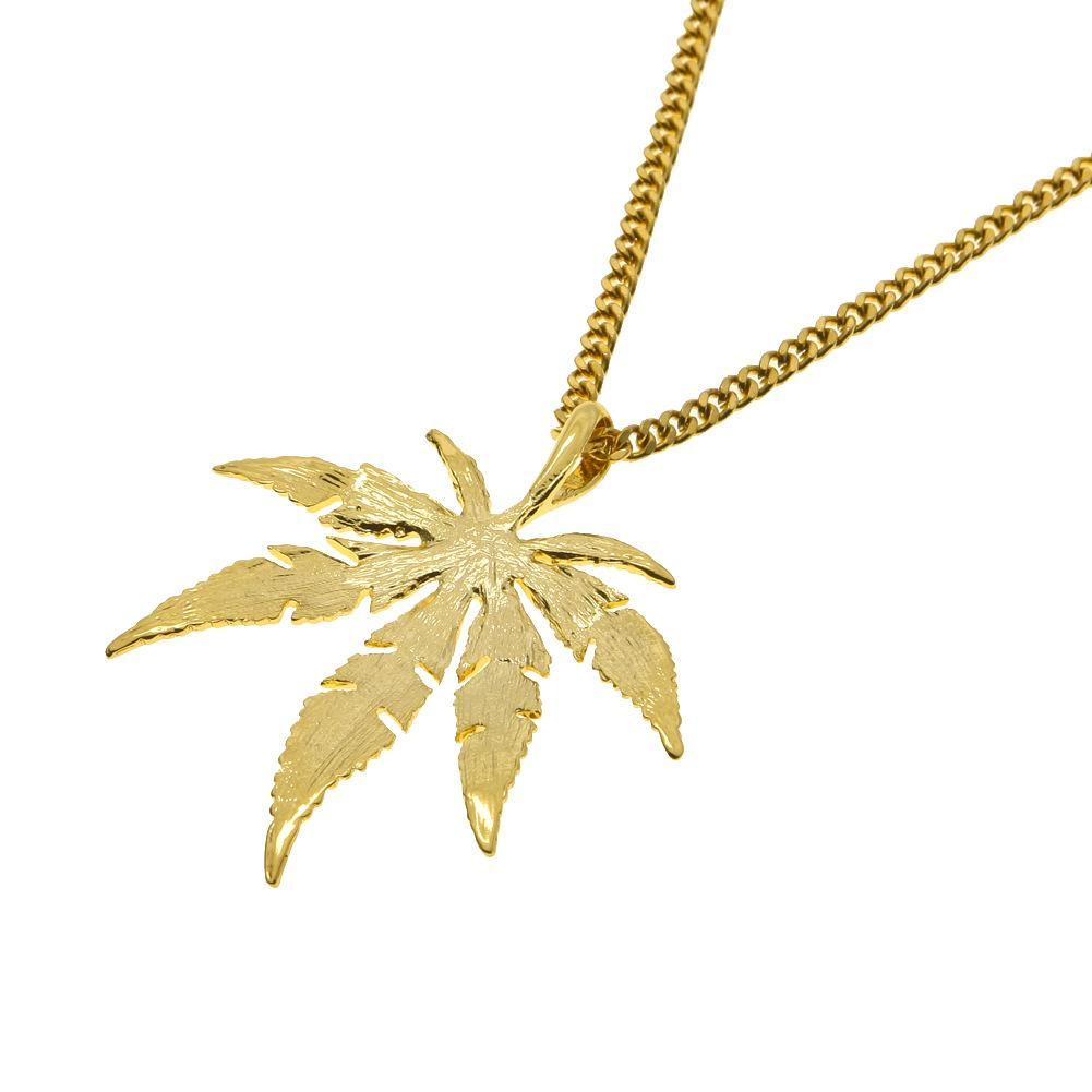 Wholesale and Retail Men Hip-Hop Pendant Necklace Alloy Copper Link Chain Gold Plated Leaves HIPHOP Necklace Jewelry