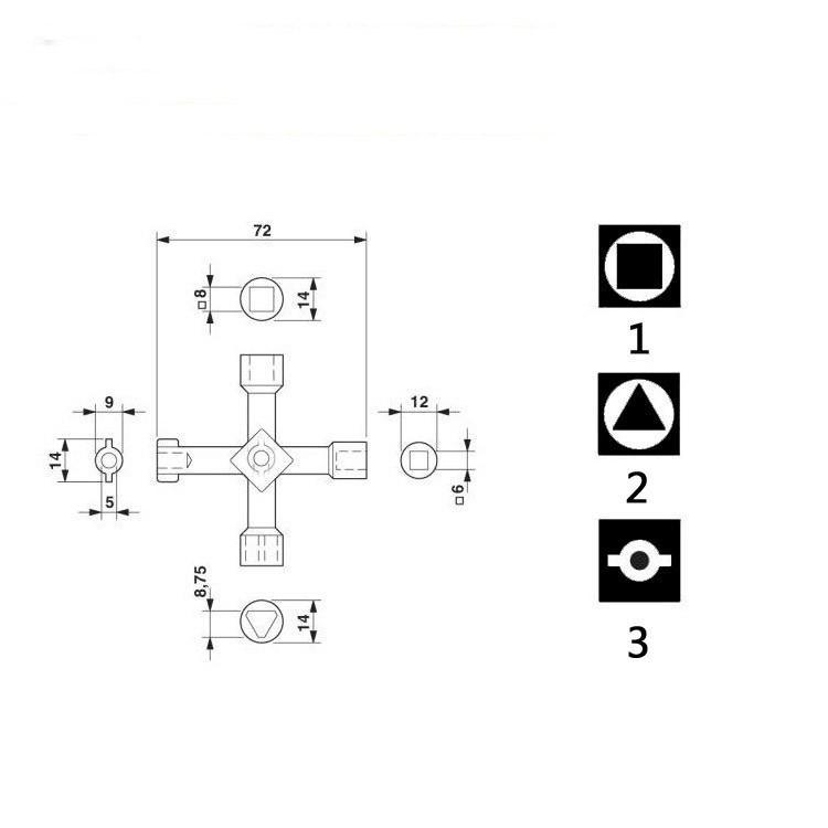 Universal Cross KEY Triângulo CHAVE para Comboio Elevador Elétrico Armário Válvula Liga Triângulo / Quadrado