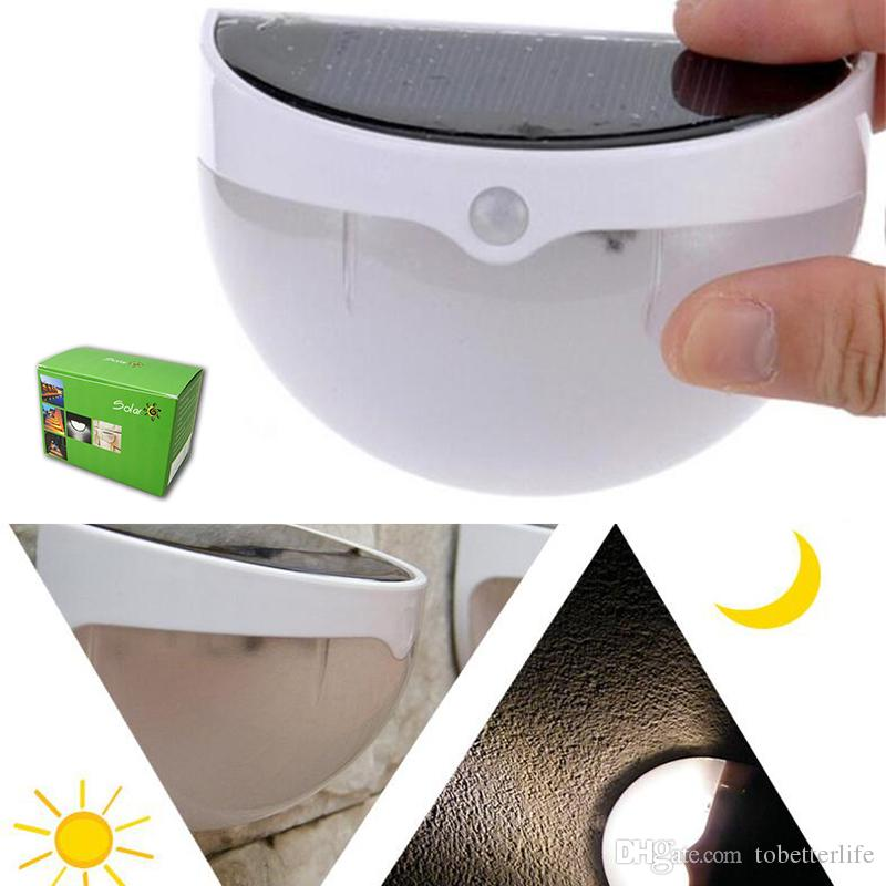 Solar powered sensor led wall lamp waterproof mini size sound body sensor warm white white for yard garden decoration