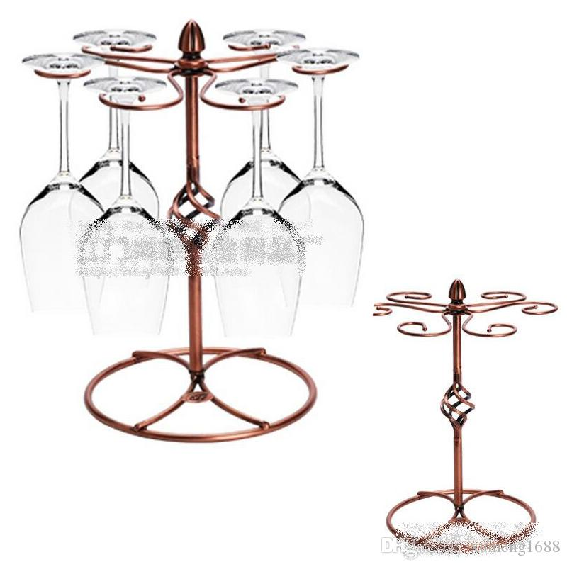 2019 Freestanding Scrollwork Bronze Metal 6 Wine Glass Stemware