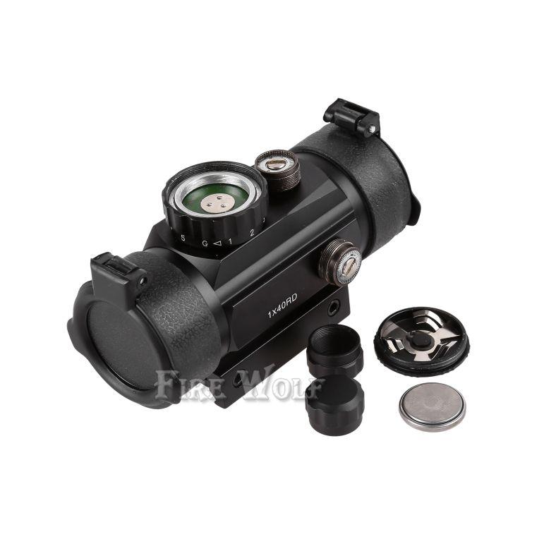 FOGO WOLF 1x40RD Riflescope Tactical Holográfico Red Green Dot Sight Scope Projeto 20/11mm Rail Mount para Gun Caça Airsoft