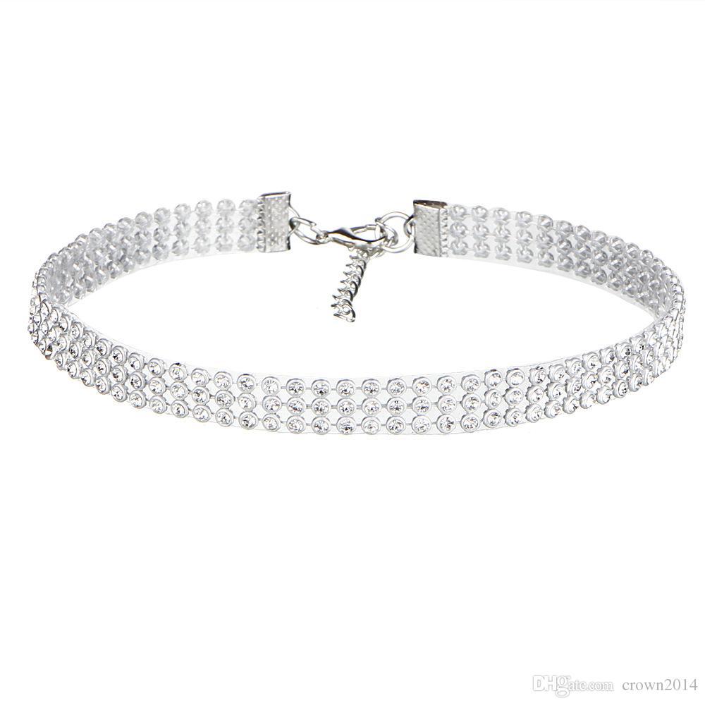 Дешевые Мода Женщины Полный Кристалл Rhinestone Колье Ожерелье Для Женщин Серебряные Ювелирные Изделия Цветные Алмаз Заявление Ожерелье