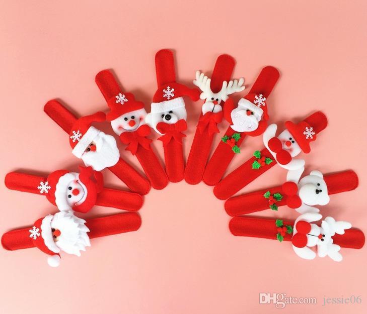 Xmas Party Favors Weihnachtsmann Slap Armband Weihnachten Rentier Armband Armreif festliche Veranstaltung Kinder Erwachsene Geschenk rot