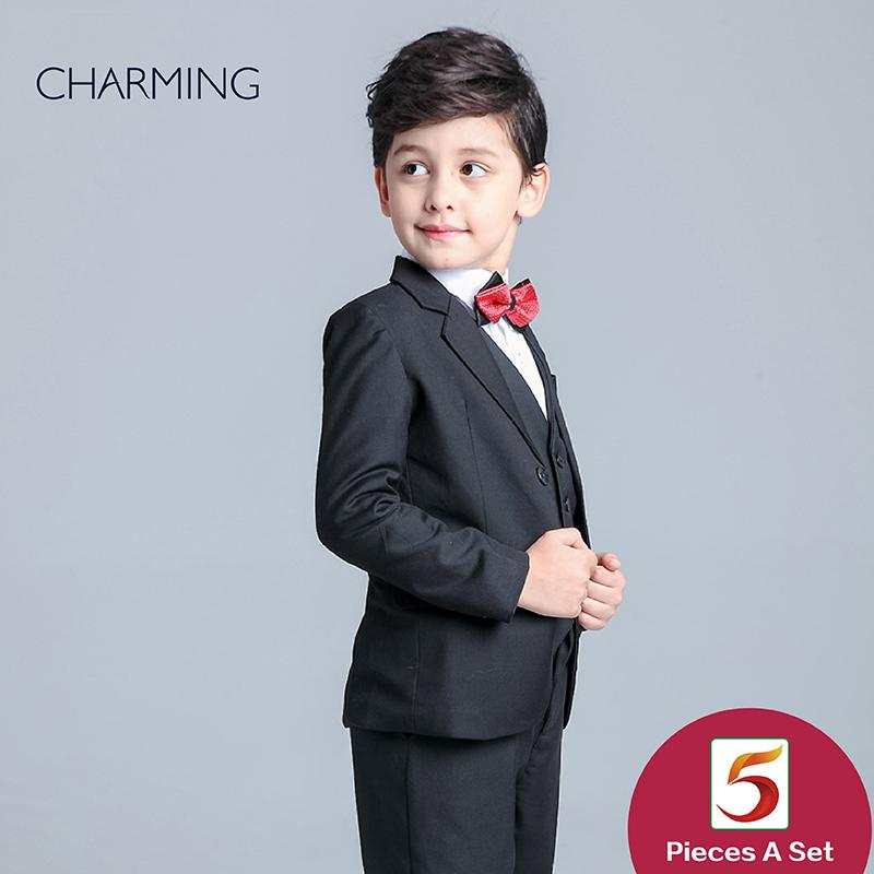Brand New Boys Formal Clothes Long Sleeve Suit Style Black Boys Suit ...