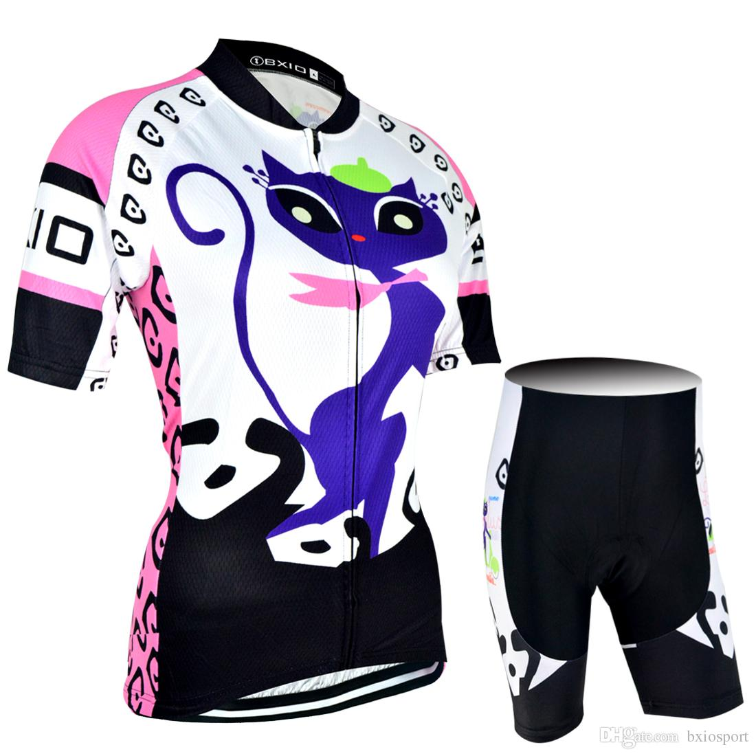 BXIO Brand Women Cycling Jerseys Pro Team Funny Cat Cycling Clothing Sets Summer  Short Sleeve Bicycle Clothes Mujer Ropa Ciclismo BX 044 Cycling Gear Bike  ... 0857aa58f