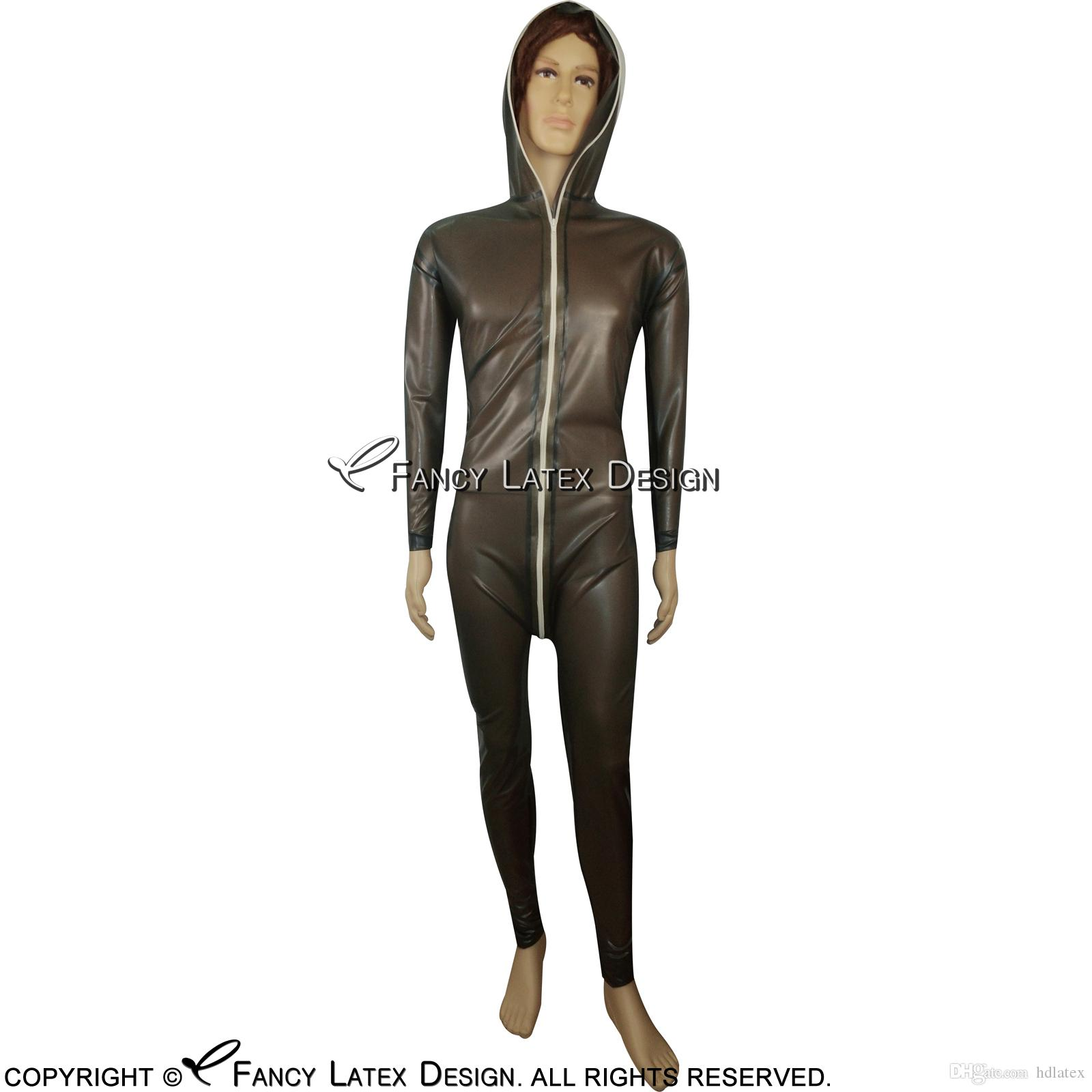 2019 Transparent Black Sexy Latex Catsuit With Hoodies Zipper At Front To  Crotch Bondage Rubber Bodysuit Fetish Zentai LTY 0031 From Hdlatex, ...