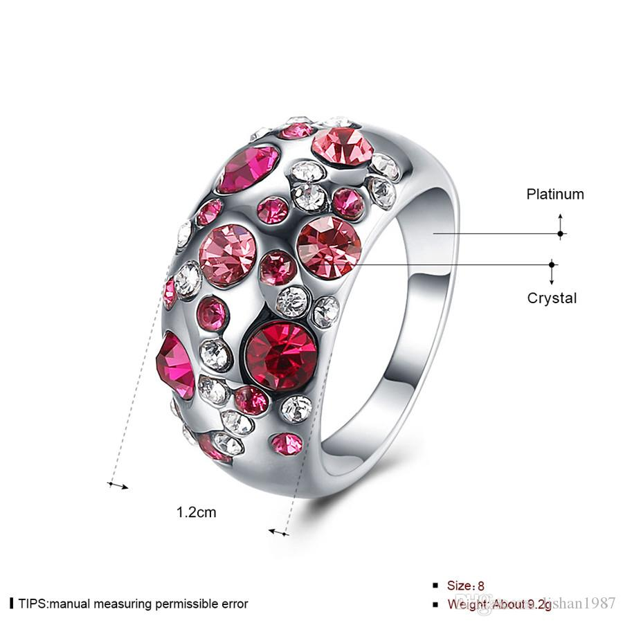 2017 New Three Years Quality Assurance New Fashion Jewelry 18K Rose Gold Plated Pink Party Geometric Ring For Women