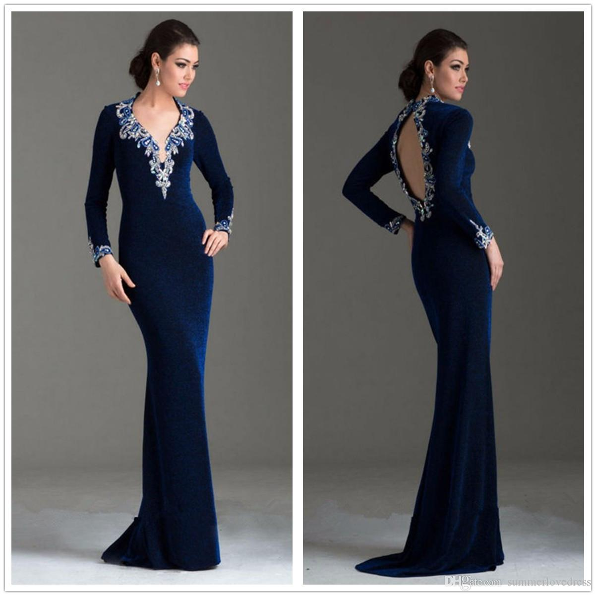 fa5e35b6a12 2017 New Navy Blue Long Sleeves Velvet Mermaid Evening Dresses V Neck  Beaded Stones Backless Sweep Train Party Prom Dresses Red Evening Dress  Shop Dresses ...