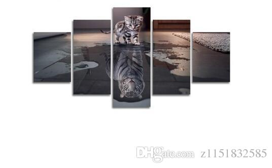 2017 Cats and Tigers Creative Panel Wall Art Oil Painting on Canvas Printed Painting Pictures Decor Painting Large Living Room