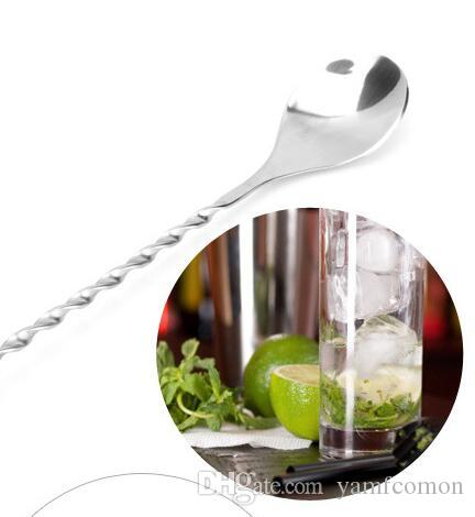 304 Stainless Steel Bar Spoon 27.5cm Swizzle Stick Stirrer Bar Mixing Spoon Cocktail Drink Sticking Tools