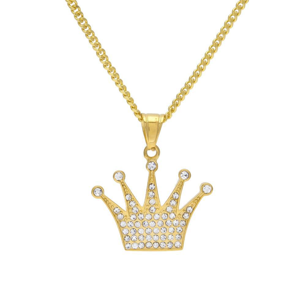 Stainless Steel Gold Color Charm Exquisite Imperial Crown Rhinestones Pendant With Free 24 inch Cuban Chain Top Quality Necklace