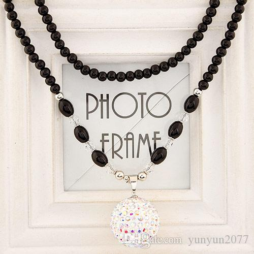 Gifts Fashion Costume Accessories Jewelry Black Chains Beads Ball Pendants Office Crystal Red White Blue Long Sweater Necklaces For Women