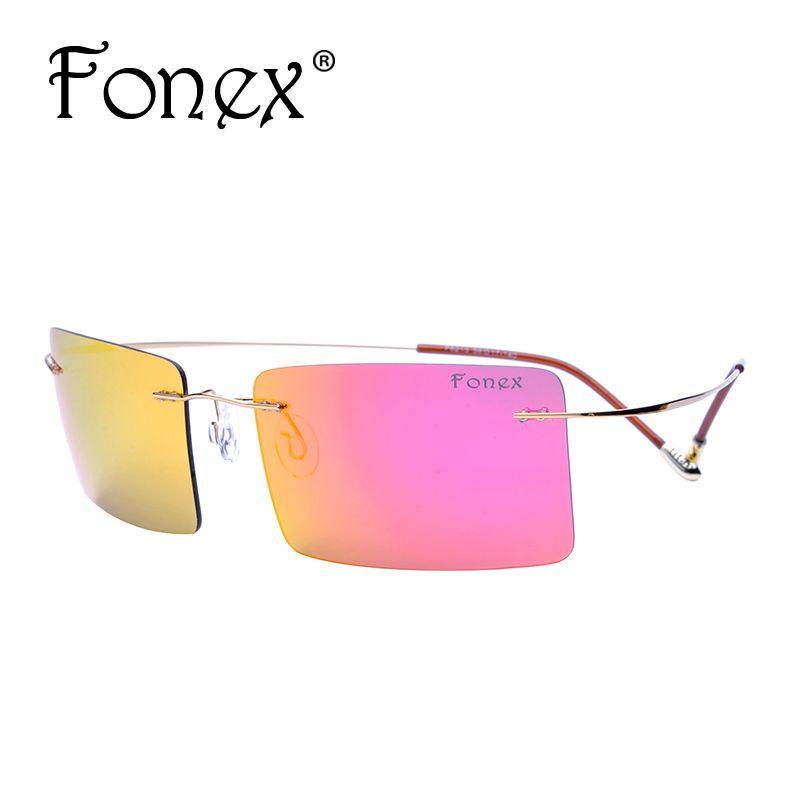 e719f7c721 Wholesale FONEX No Screw Cool Square Rimless Polarized Polaroid Sunglasses  Women Brand Designer Titanium Rectangle Ultralight Sun Glasses Sunglasses  Hut ...