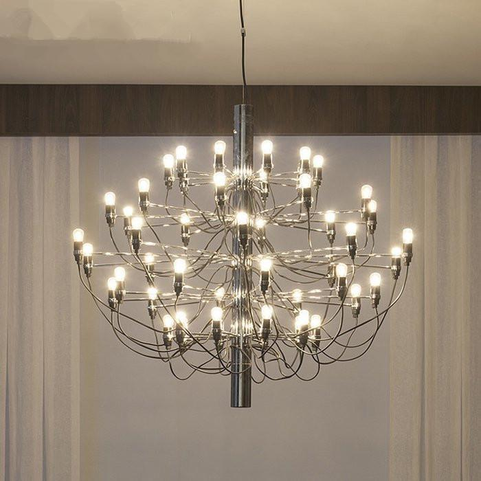 Nordic Chrome Gold Led Ceiling Chandeliers 18/30 Bulbs Pendant Lamp ...