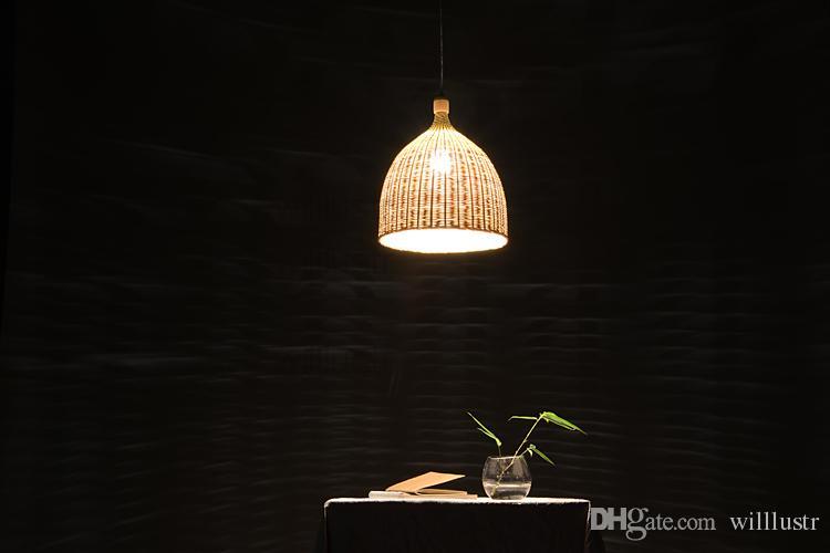 Willlustr مصباح قلادة الخيزران الضجيج يعيشون تعليق غرفة ضوء اليدوية فندق الخوص سلة المطبخ قاعة مطعم علوي شنق الإضاءة