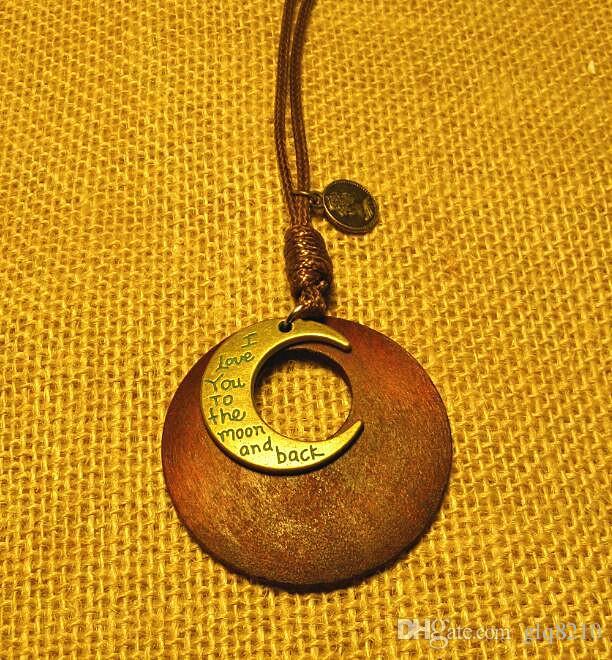 Двойные деревянные овальные листья кулон ожерелье винтажный тибетский серебряный крест цепи свитер мужчины женщины ювелирные изделия ручной работы стильный 12 шт