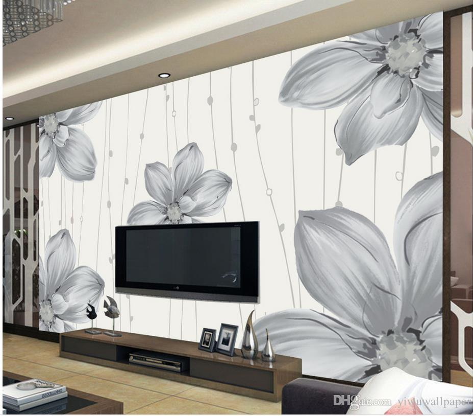 Top Classic 3D European Style Modern simple hand painted floral pattern mural TV wall