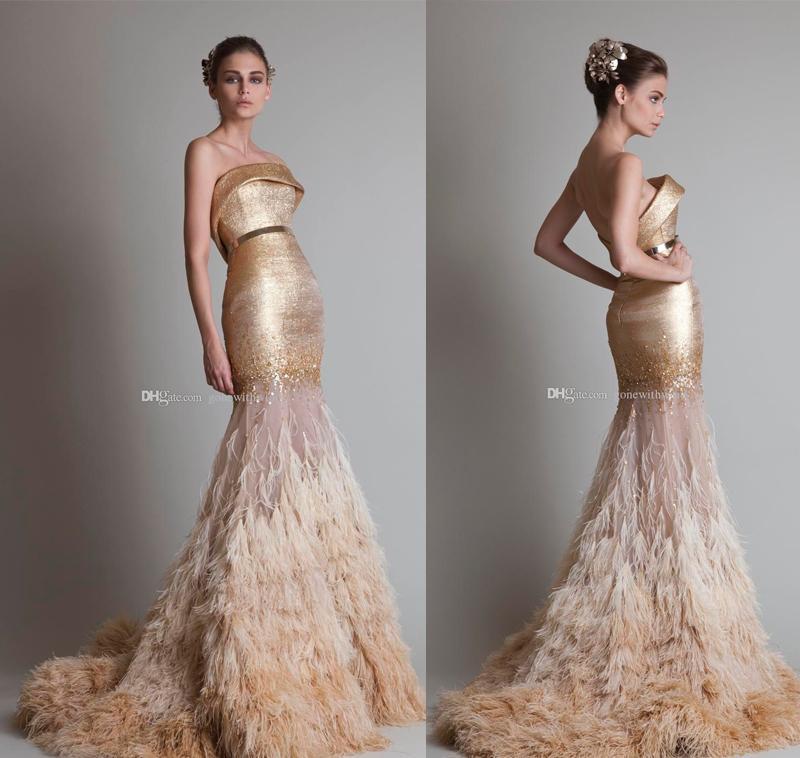 Arab Dubai Gold Ostrich Hair Tassel Mermaid Wedding Dresses 2017 ...