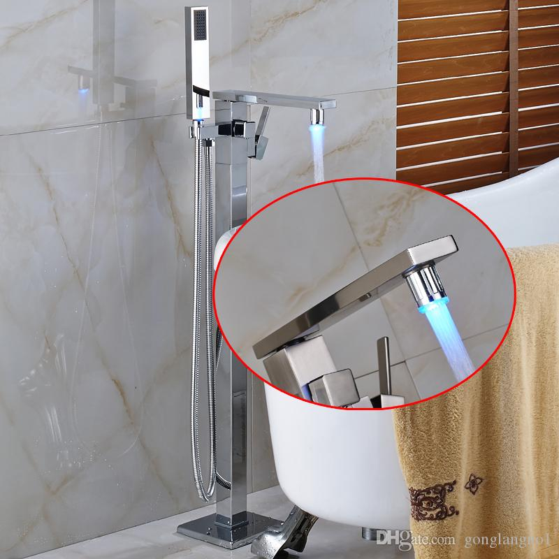 2019 New Free Standing Waterfall Bathtub Faucet Chrome Mixer Tap W