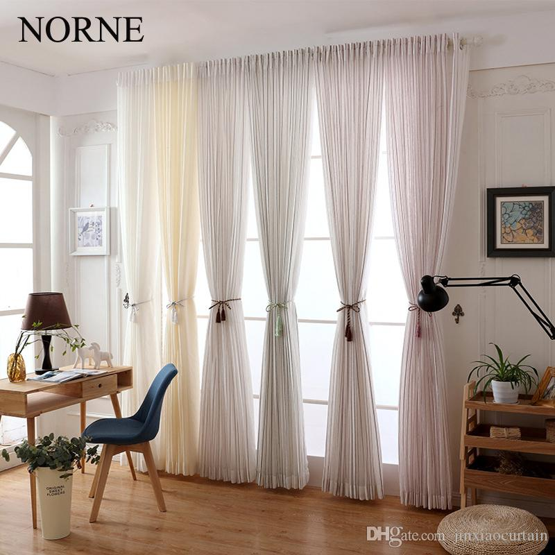 Norne Modern Tulle Window Curtains For Living Room The Bedroom The Kitchen  CortinaRideaux Colorful Strip Sheer Curtains Blinds Drapes Material For  Curtains ...