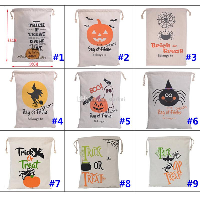 Newest Halloween Christmas Gifts Bags Pumpkin Shopping Bags Festival Gifts Bag Halloween Canvas Bag 9 Style Eco Bags 36*44CM WX-B10