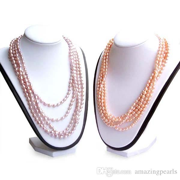 Hot 100 inch Long Real Pearl Necklace Handmade By Double Stranded Silk Thread