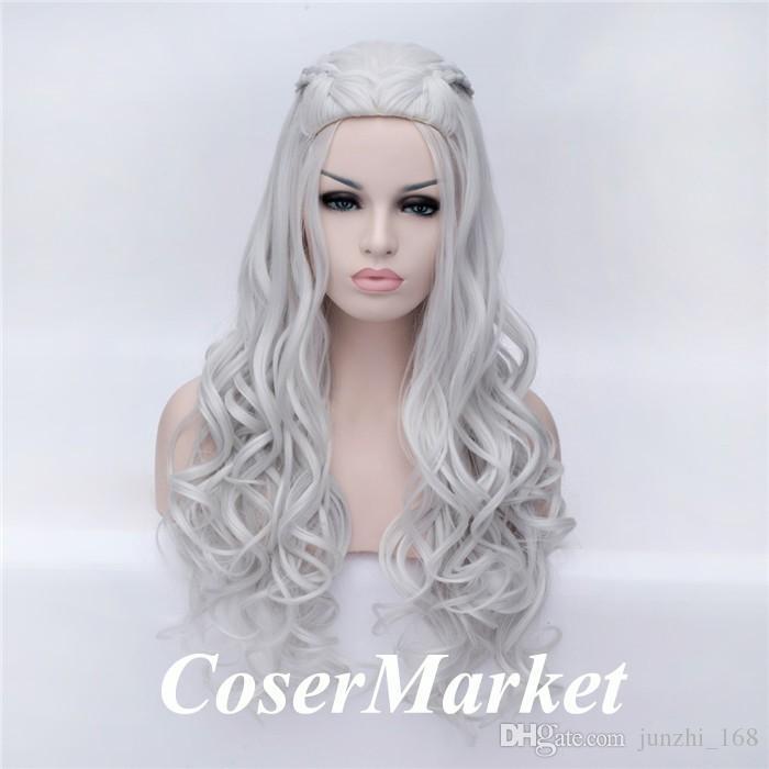 New!! Game of Thrones Daenerys Targaryen Cosplay Wig Braided Long Curly Anime Wigs Daenerys Hair Women Costume Wig