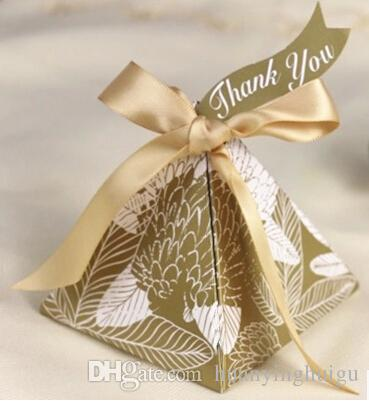 European style blue golden Pearl paper triangle pyramid Wedding box Candy Box gift boxs wedding favour boxes