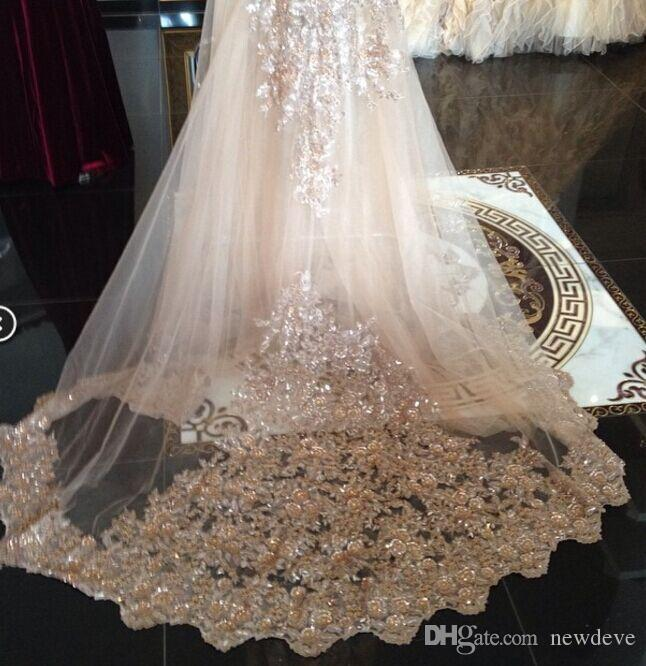 Real Image Bridal Veils Sequins Luxury Cathedral Veil Appliques Lace Edge Custom Made Long Wedding Veils In Stock Fast Shipping