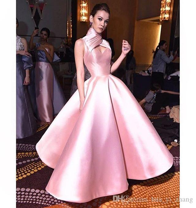 2017 High Neck Ball Gown Prom Dresses Pink Cross Criss Keyhole Neck ...