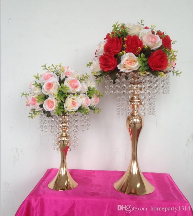 Vaso de metal de buquê de casamento de ouro com tabela de cristal mesa de mesa de flores de exposição de flores
