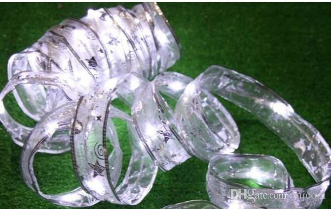 5M 40LED String Ribbon led Lights organdy Matrimonio Natale illuminazione 110/220 V US / UK / EU / AU Spina 4 PZ