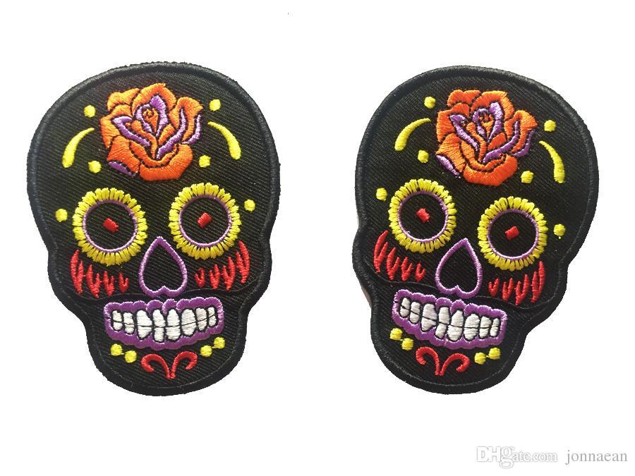 Persönlichkeit Tribal Tattoo Zucker Tag der toten Schädel Stickerei Eisen auf annähen Patch Rockabilly Biker Patch DIY Applique gesticktes Emblem