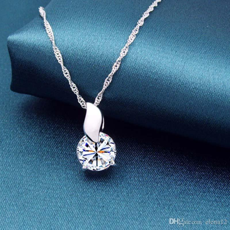 fashion Pendant Necklace For Women Top Grade Diamond Cubic Zircon 925 sterling silver Love Pendant necklace For Wedding Dress Sets Party