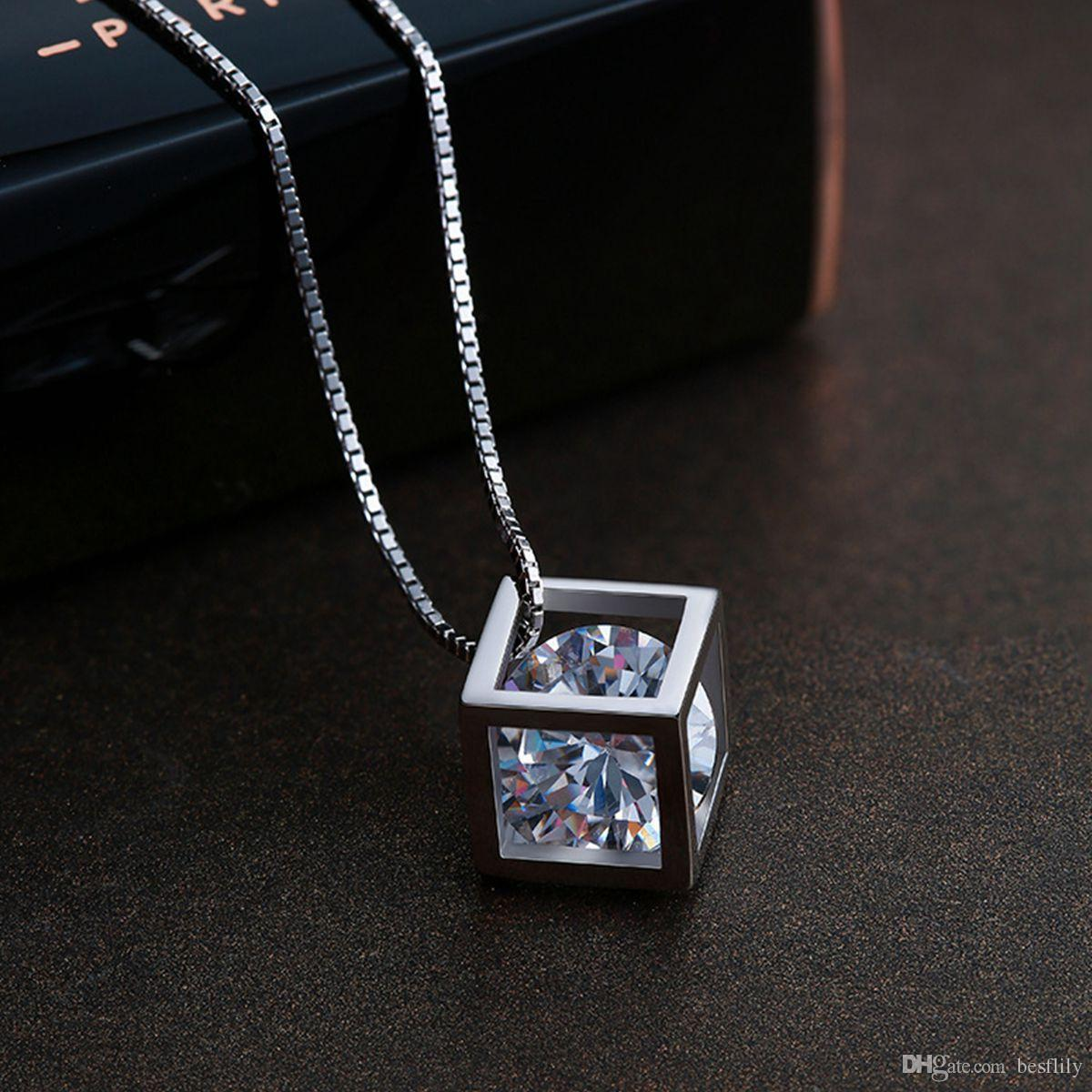 Women Necklaces Fashion Jewelry 925 Sterling Silver Love Magic Cube Sparkle Cubic Zirconia Crystal Pendant Necklace 18inch Box Chain