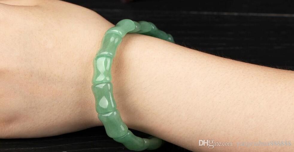 Ücretsiz Kargo Yeni Moda Yeşil Yeşim Bilezik Çin Klasik Bilezik Takı 100% Doğal Yeşim Taş