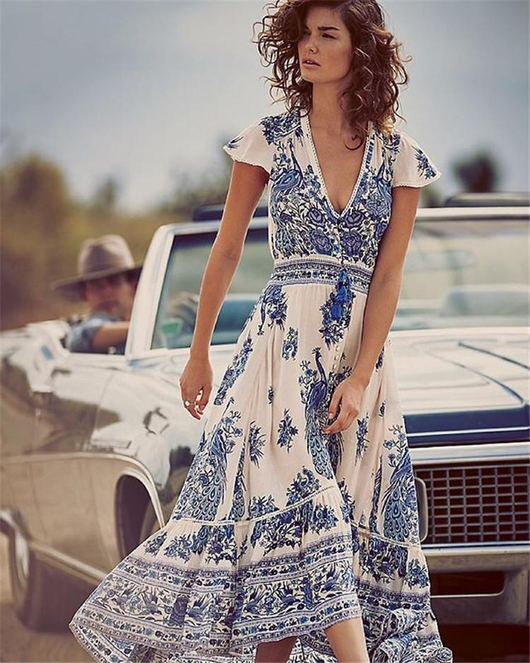 Summer Women Bohemia Dresses Vintage Deep V-neck Floral Print Long Beach Dress Vestidos De Festa Fashion Big Plus Size Hippie Dresses