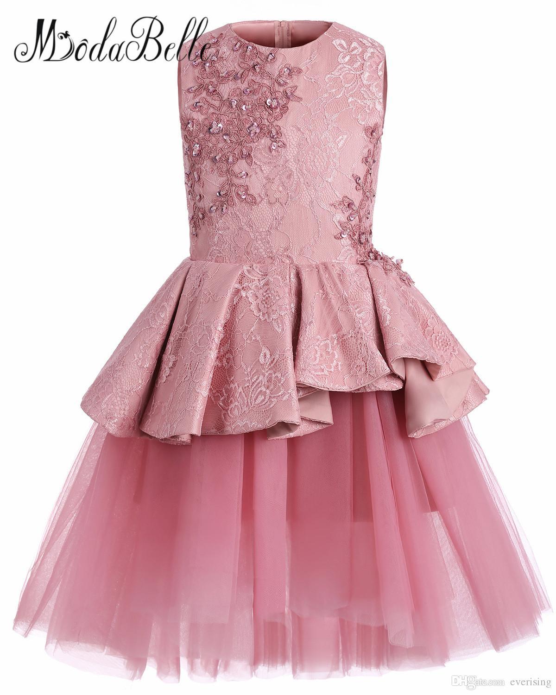 01ada40a56bb4 Acheter Modabelle A Ligne Dusty Rose Robes Pour Filles Enfants Robes De Fête  Applique Dentelle Perlées Fleur Robes De Filles Pour Invité De Mariage De  ...