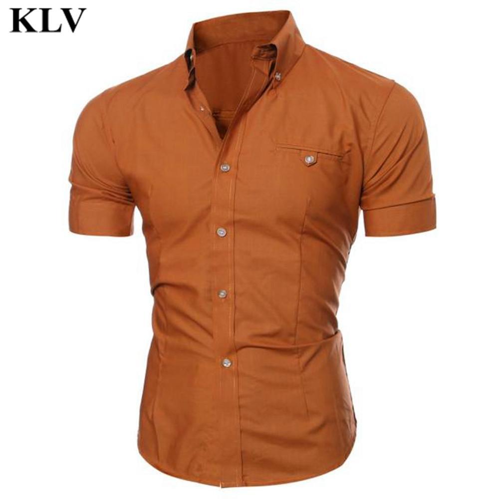 2019 Wholesale New Brand Casual Men Shirt Short Sleeve Lattice Slim