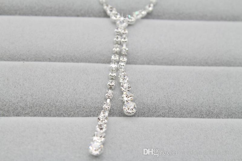 Simple Design Crystal Bridal Earrings Necklace Set Women Bride Wedding jewelry Set Cheap shinning Rhinestone Necklace Earring for Party