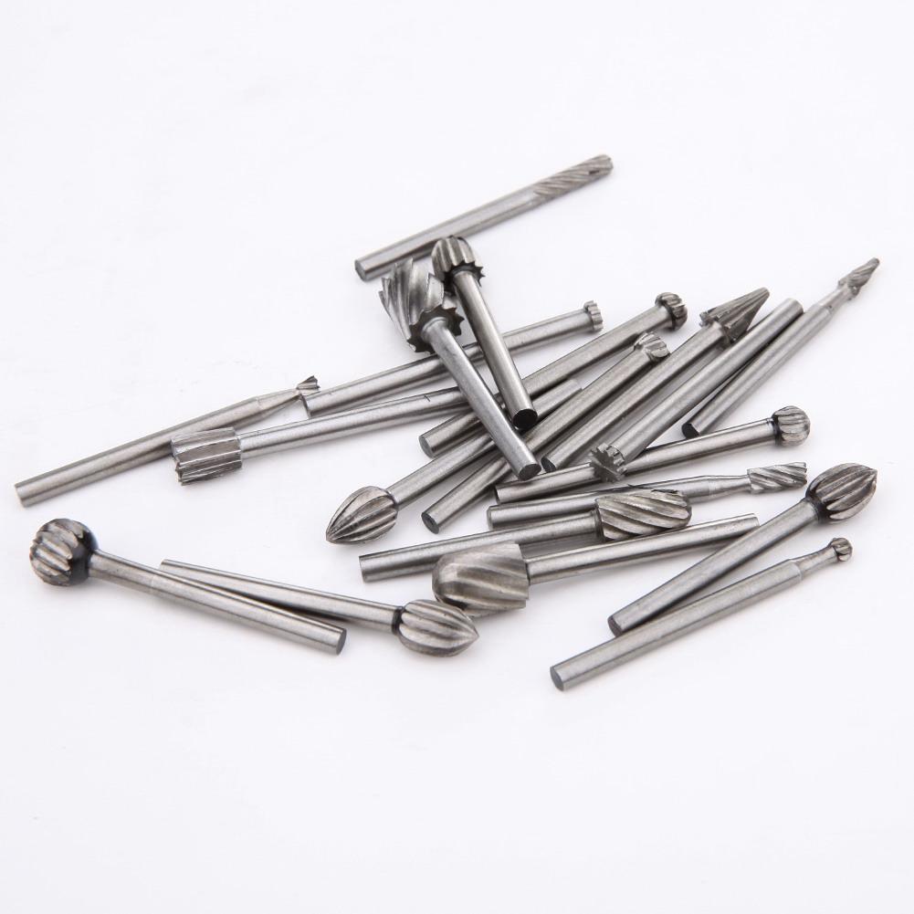 20pcs / Set 3mm 샹크 HSS Dremel 라우팅 목재 밀링 로타리 파일 커터 목공 조각 새겨진 칼 커터 도구