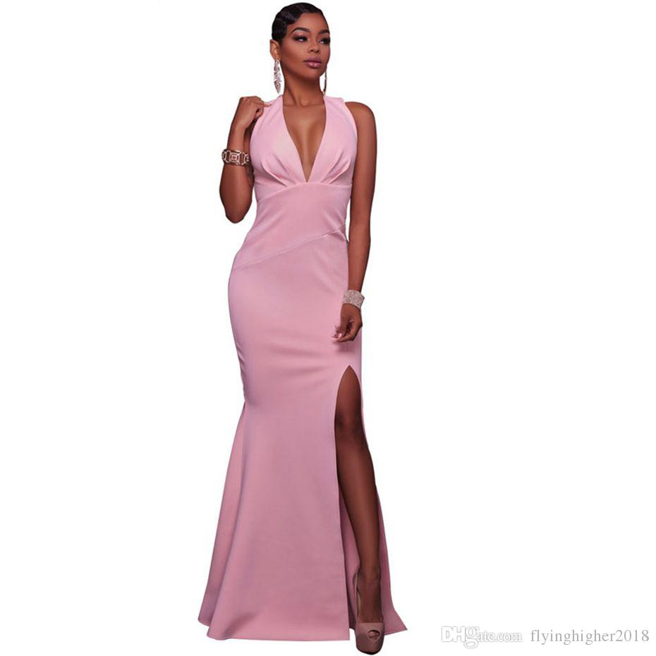 Elegant Long Maxi Dress Women 2017 Pink Vestidos Summer Split Tunics Bodycon  Dress Sundresses Robe Sexy Party Dresses White Sundresses For Women Summer  ... d58c7c87b