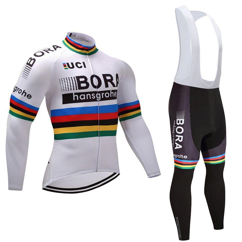 21a362d2d428 Acheter 2018 Champion Blanc BORA Cyclisme Jersey Pantalon Ensemble Ropa  Ciclismo Hiver Polaire Thermique Coupe Vent Cyclisme Usure Vêtement De Vélo  Costume ...