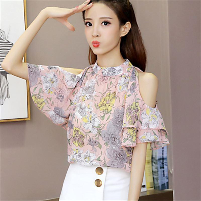 5891f6933f4 Women Blouse Shirts Chiffon Short Butterfly Sleeve Shirt Woman Clothing  Summer Floral Print Fashion Off Shoulder Hollow Out Tops Women Blouse  Chiffon Online ...